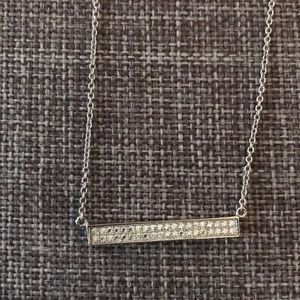 Horizontal bar necklace with small clear stones